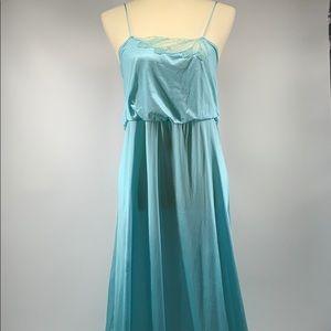 FLAIR Vintage Aqua Silky Long Nightgown